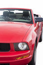 Closeup shot of red cabrio coupe isolated over pure white backgr background vertical image orientation Stock Photo