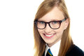 Closeup shot of smiling schoolgirl in eyeglasses Royalty Free Stock Images