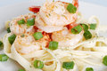 Closeup shrimp with noodles and spring onions Stock Photo