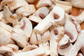 Closeup of sliced mushrooms Royalty Free Stock Image