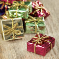 Closeup of small Christmas gifts Royalty Free Stock Photos