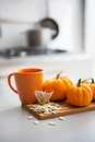 Closeup on small pumpkins seeds and tea bag table Royalty Free Stock Image