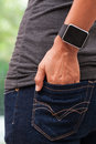 Closeup of a smart watch with empty screen Royalty Free Stock Photo