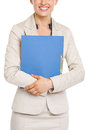 Closeup on smiling business woman holding folder high resolution photo Stock Images