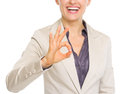 Closeup on smiling business woman showing ok gesture Royalty Free Stock Photo