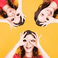 Closeup of Smiling Woman with looking Gesture Royalty Free Stock Photo
