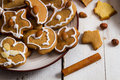 Closeup snacking homemade Christmas cookies Royalty Free Stock Photo