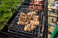 Closeup of some meat skewers being grilled in a barbecue. Grilling marinated shashlik on a grill. Royalty Free Stock Photo