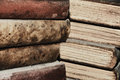 Closeup some piles old books Royalty Free Stock Photos