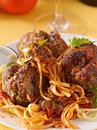 Closeup spaghetti and meatball dinner Royalty Free Stock Images