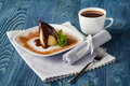 Closeup of a spiced poached pear with warm chocolate sauce Royalty Free Stock Photo
