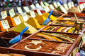 Closeup of spices on sale market Stock Image