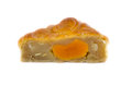Closeup square moon cake in half cut show egg yolk isolated on