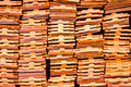 Closeup stack of earthenware roof tile prepare for thai traditio Royalty Free Stock Photo