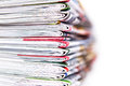 Closeup stack of newspaper Royalty Free Stock Photo