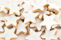 Closeup of star shaped cinnamon biscuit some Stock Photography
