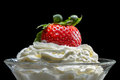 Closeup starwberry with whipped Cream Royalty Free Stock Photo