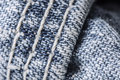 Closeup of stitching of blue jeans showing detail lines Royalty Free Stock Photography