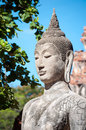 Closeup of a stone Buddha statue at Wat Mahathat temple, Ayutthaya, Thailand Royalty Free Stock Photo