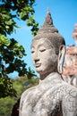 Closeup of a stone Buddha statue at Wat Mahathat temple, Ayutthaya, Thailand Royalty Free Stock Photo