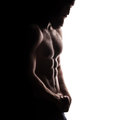 Closeup of strong athletic man on white background isolated Royalty Free Stock Images