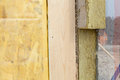 Closeup of  structural Insulated Panels with mineral rockwool  insulation and Drywall. Royalty Free Stock Photo