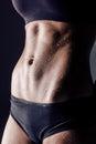Closeup studio shot fitness woman abs Royalty Free Stock Photo