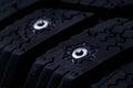 Closeup of studs of winter tire car Royalty Free Stock Photos