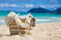 Closeup of summer beach bag Royalty Free Stock Photo
