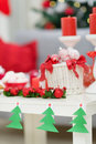 Closeup on table with Christmas decorations Stock Image