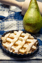 Closeup of tart made with fresh pears Stock Photo