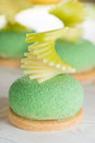 Closeup tasty cake with green apple and pear Royalty Free Stock Photo