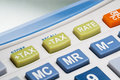Closeup of tax button on calculator Royalty Free Stock Photo