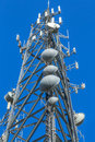 Closeup of a telecommunications cell tower large modern Stock Images