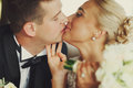 Closeup of tenderly kissing wedding couple Royalty Free Stock Photo
