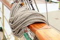 Closeup of thick ropes on sailboat yachting nautical nautical cord rigging details old Stock Photos