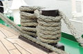 Closeup of thick ropes on sailboat yachting nautical nautical cord rigging details old Royalty Free Stock Photo