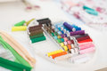 Closeup on threads on seamstress table in studio Stock Photo