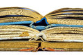 Closeup of three old books opened spine Royalty Free Stock Photography