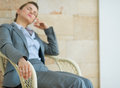 Closeup on tired business woman relaxing on chair Royalty Free Stock Photography