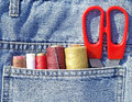 Closeup to jeans pocket tailor tools Royalty Free Stock Photo