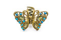 Closeup to Old Luxury Decorated Golden Butterfly Hair Clip, Isolated Royalty Free Stock Photo