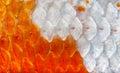 Closeup to Orange and White Shining Koi Fish Scale Background Royalty Free Stock Photo