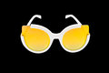 Closeup to Trendy Fashion yellow Lens Sunglasses, Isolated Royalty Free Stock Photo