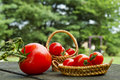 Closeup tomatoes minature baskets of cherry on table outdoors Royalty Free Stock Photos