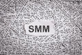 Closeup torn pieces and tapes of paper with the word SMM. Royalty Free Stock Photo