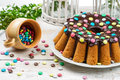 Closeup of traditional easter cake with candies Royalty Free Stock Photos