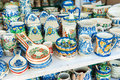 Closeup of traditional romanian colored handmade pottery Royalty Free Stock Photo