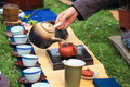 Closeup of traditional tea ceremony in asia style brewing Stock Photo