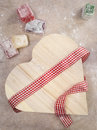 Closeup of turkish delight with a  heart shaped gift box wrapped Royalty Free Stock Photo